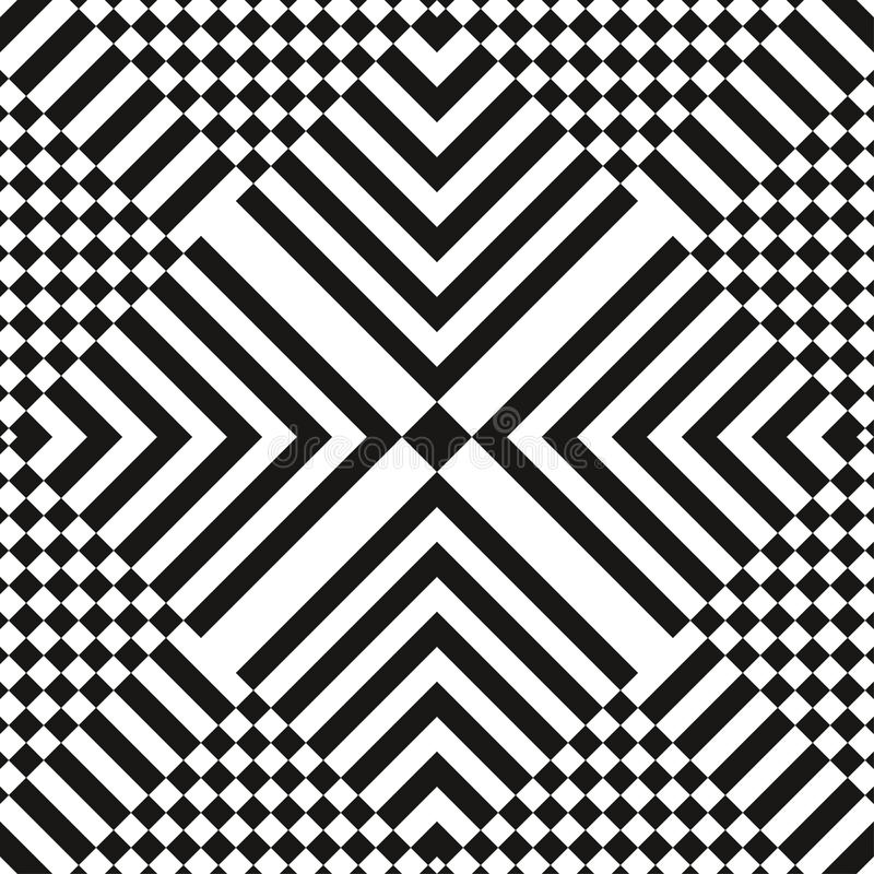 Abstract vector seamless op art pattern. Monochrome graphic black and white ornament. Striped optical illusion vector illustration