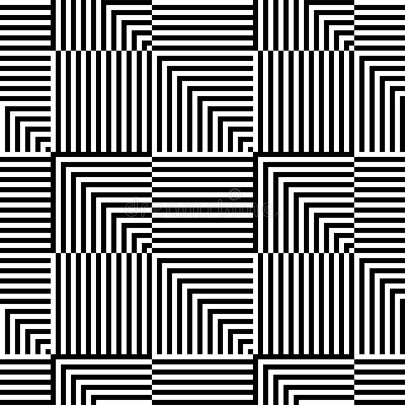 Abstract vector seamless op art pattern. Monochrome graphic ornament. vector illustration