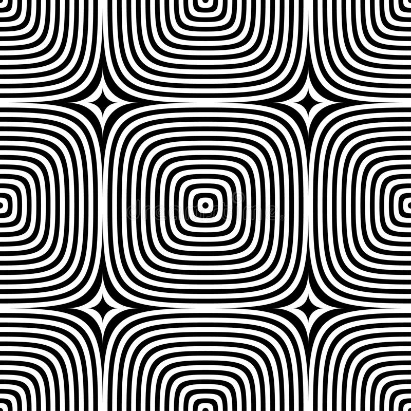 Abstract vector seamless op art pattern. Monochrome graphic ornament stock illustration