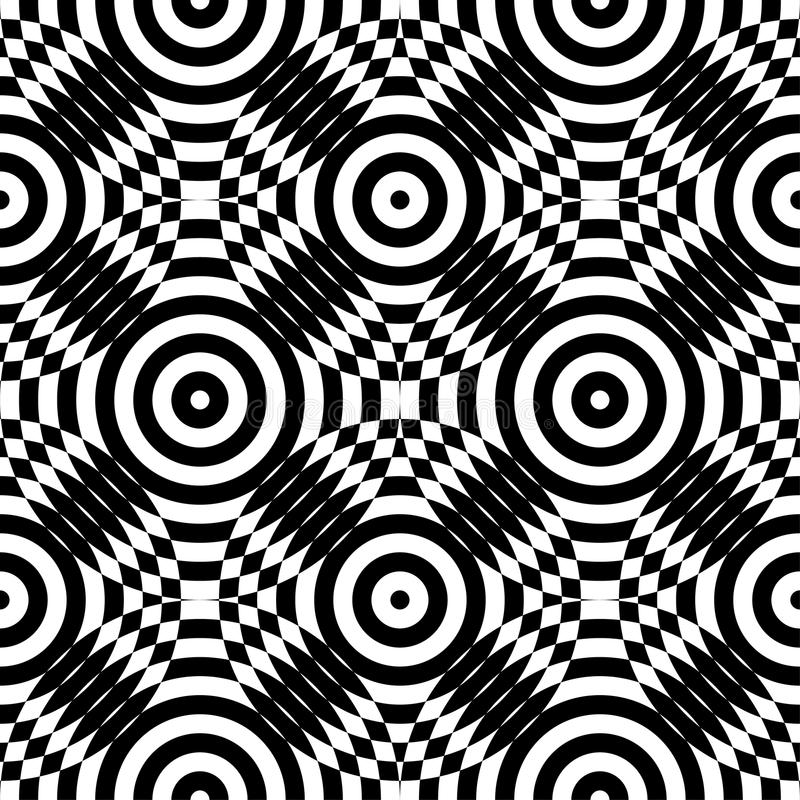 Abstract vector seamless op art pattern. Monochrome plop art graphic ornament. Optical illusion vector illustration