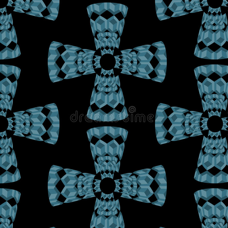 Abstract vector seamless pattern with crosses of blue 3d cubes royalty free illustration