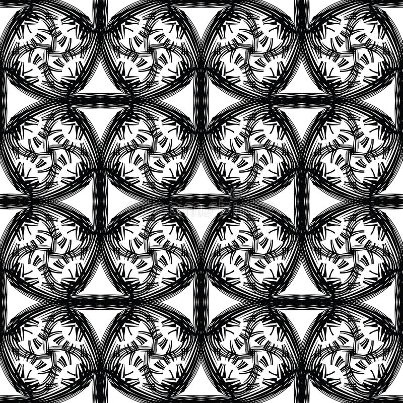 Abstract vector seamless pattern with curling lines and grid. Decorative endless texture. royalty free illustration
