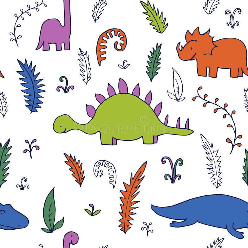 Abstract vector seamless pattern with dinosaurs stock illustration