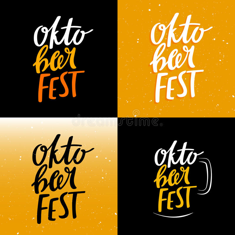 Set of Funny Colorful Oktoberfest Banners stock illustration