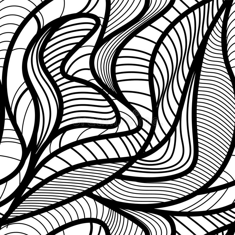 Abstract vector seamless pattern with waving curling lines. Abstract graphic black and white ornament. Leaves repeating texture stock illustration