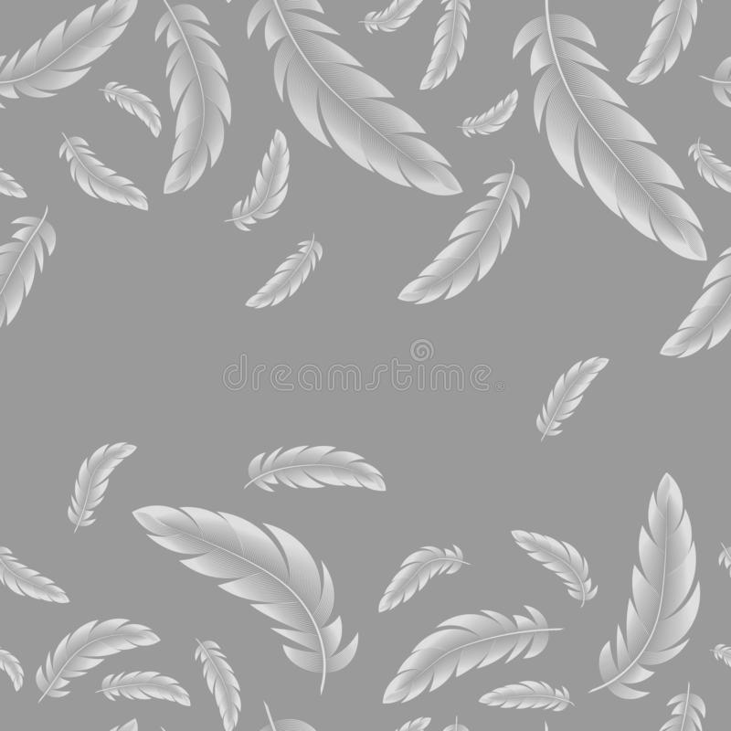 Abstract Vector seamless pattern, white feathers on gray background vector illustration