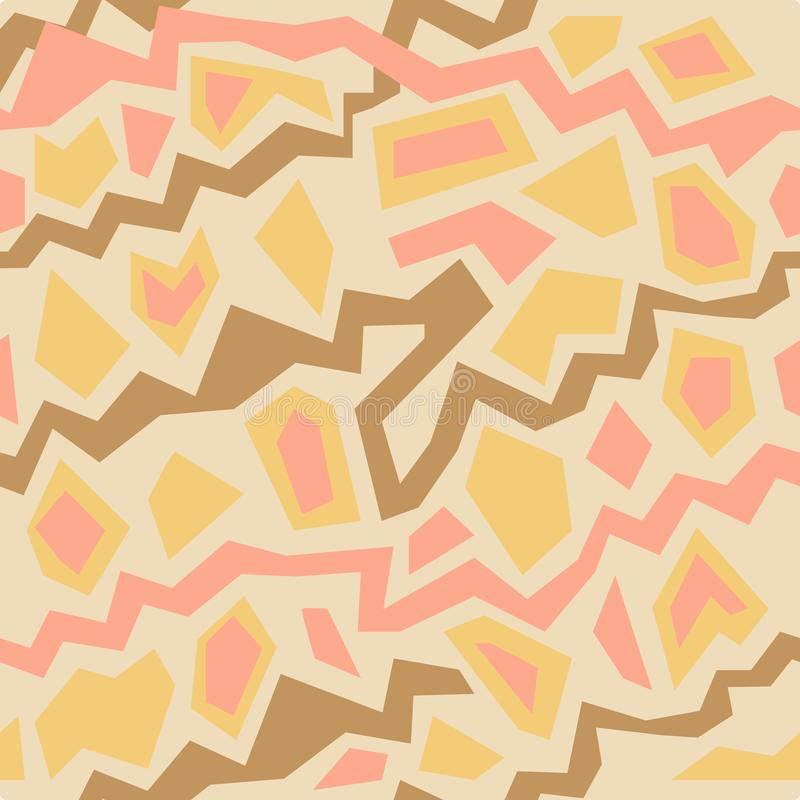Abstract vector seamless pattern with yellow, orange, pink paper cut zig zag lines on light isolated background. royalty free illustration