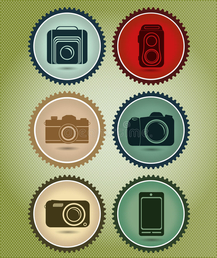 Abstract vector set of symbols with the evolution of the camera stock illustration