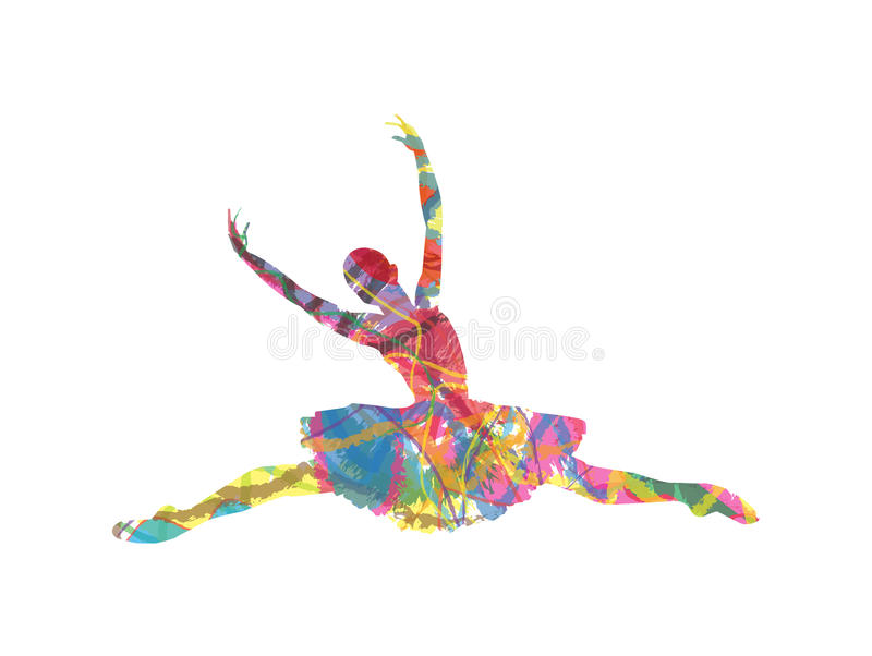 Silhouette Dance Music Abstract Background: Abstract Vector Silhouette Dancing Girl Stock Vector