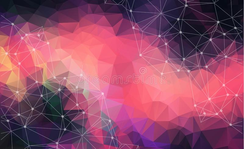 Abstract vector space Colorful Dark background. Chaotically conn. Ected points and polygons flying in space. Flying debris. Futuristic technology style. Elegant stock illustration