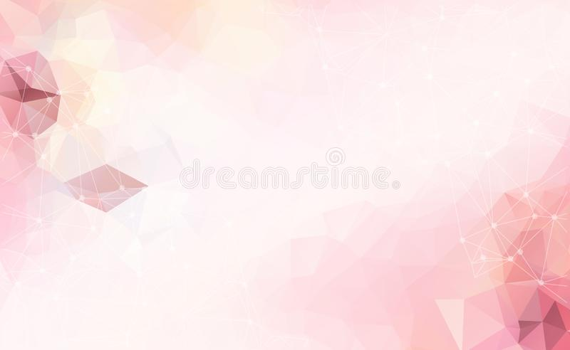 Abstract vector space Pink white background. Chaotically connect stock illustration