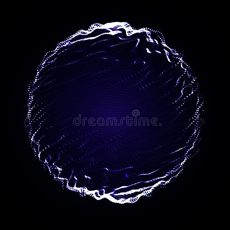 Abstract vector sphere explosion. Sphere mesh with glowing particles. Futuristic technology style. Elegant background royalty free illustration
