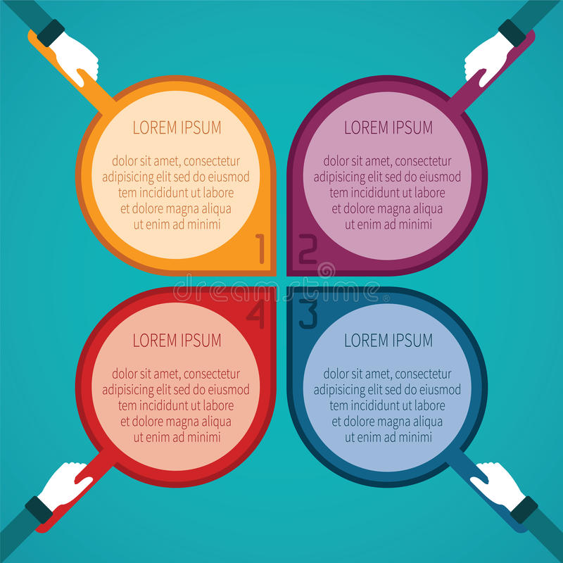 Abstract vector 4 steps infographic template in flat style for layout workflow scheme, numbered options, chart or diagram royalty free illustration