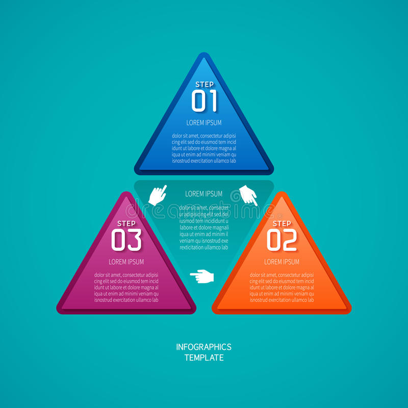 Abstract vector 3 steps infographic template in flat style for layout workflow scheme, numbered options, chart or diagram.  royalty free illustration