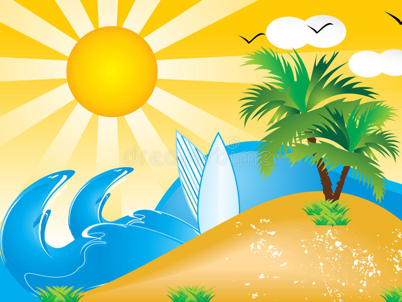 Happy Summer Holidays Background Vector: Abstract Vector Summer Holiday Background Stock Vector