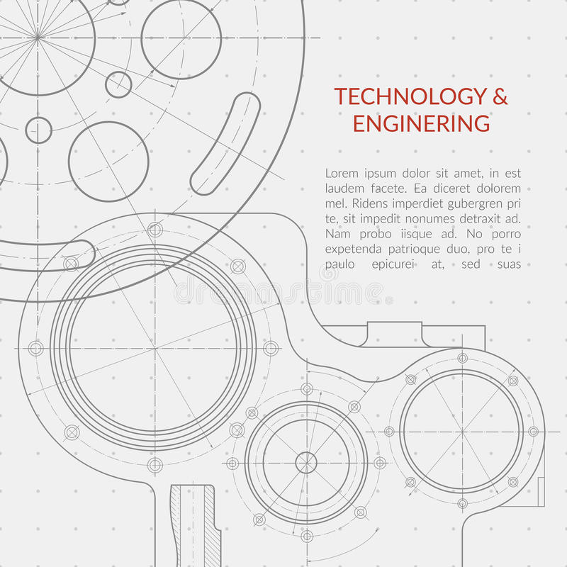 Abstract vector technology and engineering background with technical, mechanical drawing royalty free illustration