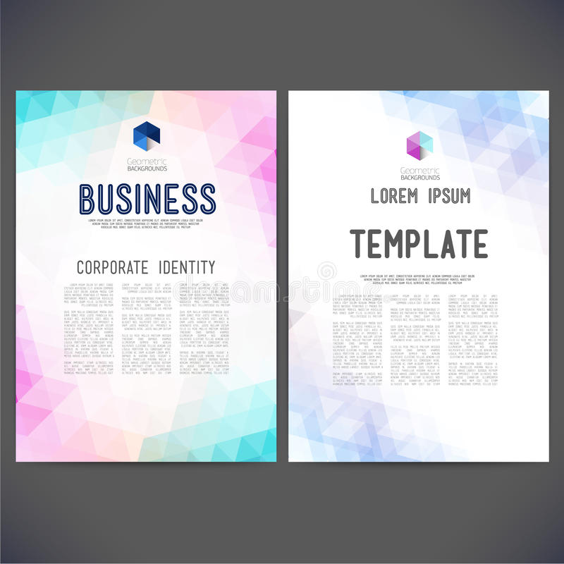 Abstract vector template design, brochure. Web sites, page, leaflet, with colorful geometric triangular backgrounds, logo and text separately stock illustration