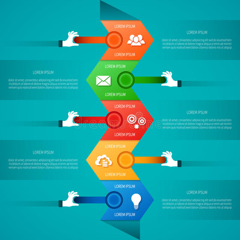 Abstract vector timeline infographic template in flat style for layout workflow scheme, numbered options, chart or diagram.  vector illustration