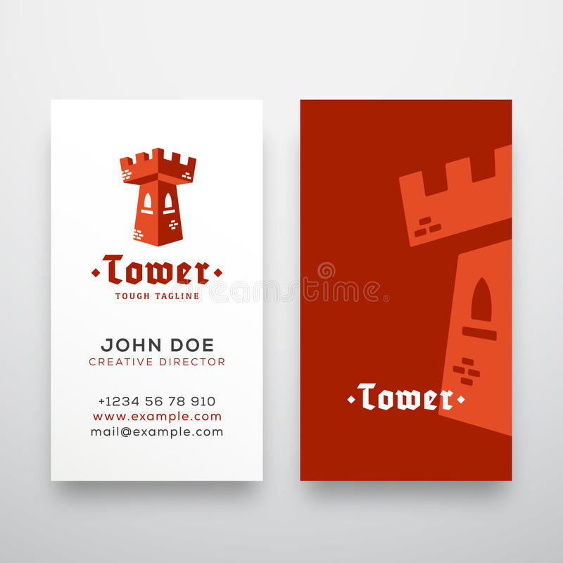 Abstract Vector Tower Sign, Emblem or Logo Template and Stationary. Flat Style Fortress Concept with Retro Typography royalty free illustration