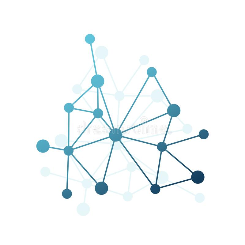 Abstract vector triangle pattern. Blue gradient network element. Lines and circles connection illustration for science, neural vector illustration