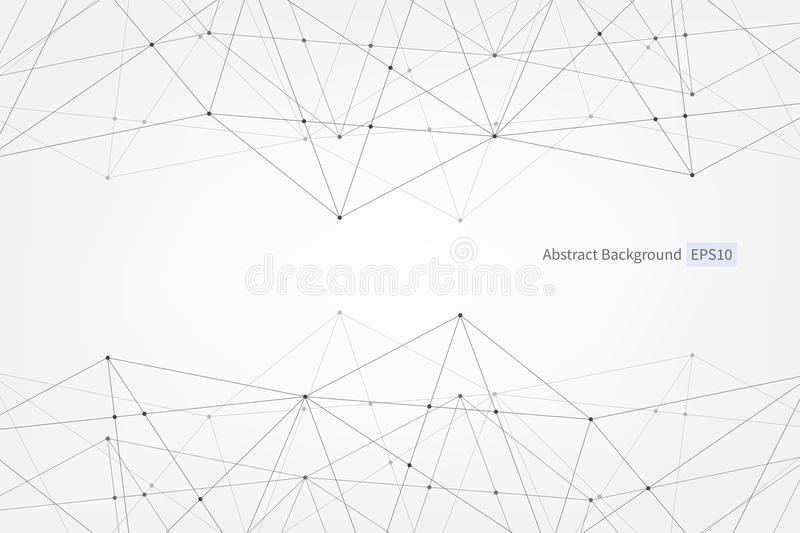 Abstract vector triangle pattern. Lines points connection scientific polygonal illustration for business, technology, design. Abstract vector triangle pattern stock illustration