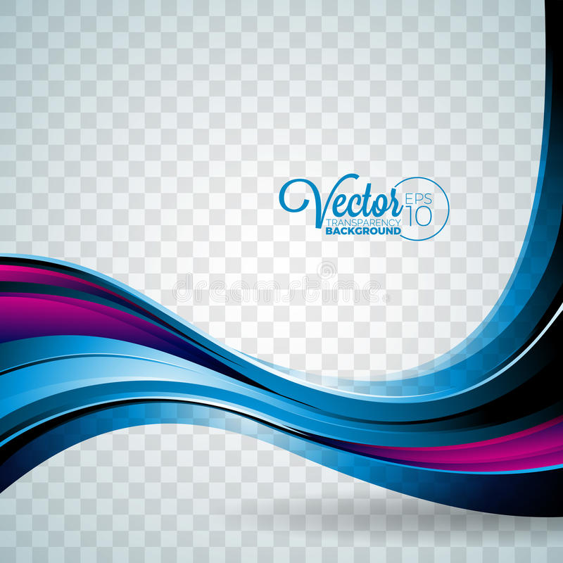 Abstract vector wave design on transparent background. royalty free illustration
