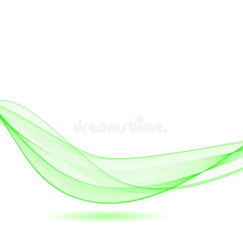 Abstract vector wave with shadow. Green curved lines. eps 10 stock illustration