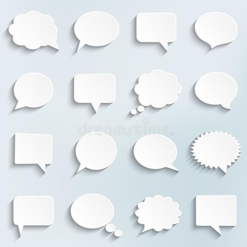 Abstract vector white speech bubbles set royalty free illustration