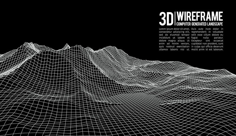 Abstract vector wireframe landscape background. Cyberspace grid. 3d technology wireframe vector illustration. Digital. Wireframe landscape vector illustration
