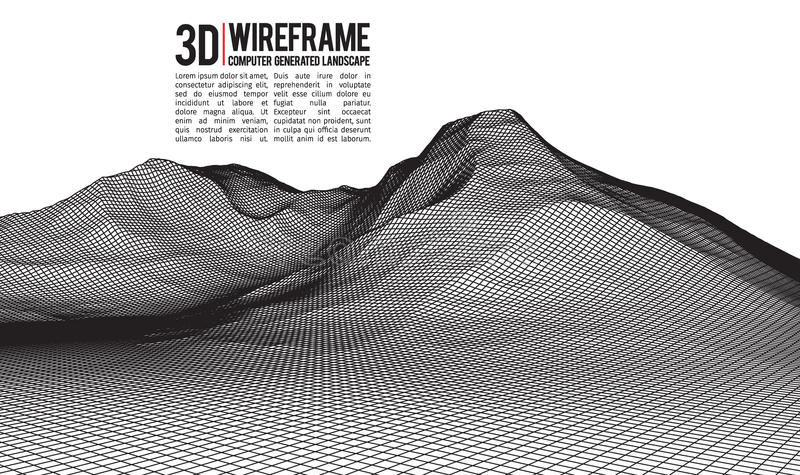 Abstract vector wireframe landscape background. Cyberspace grid. 3d technology wireframe vector illustration. Digital. Wireframe landscape royalty free illustration