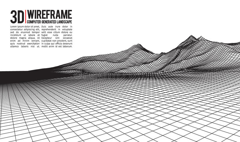 Abstract vector wireframe landscape background. Cyberspace grid. 3d technology wireframe vector illustration. Digital. Wireframe landscape stock illustration