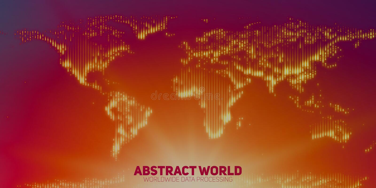 Abstract vector world map constructed of glowing points. Continents with a flare in the bottom. Digital map abstraction in red and violet colors. Digital stock illustration