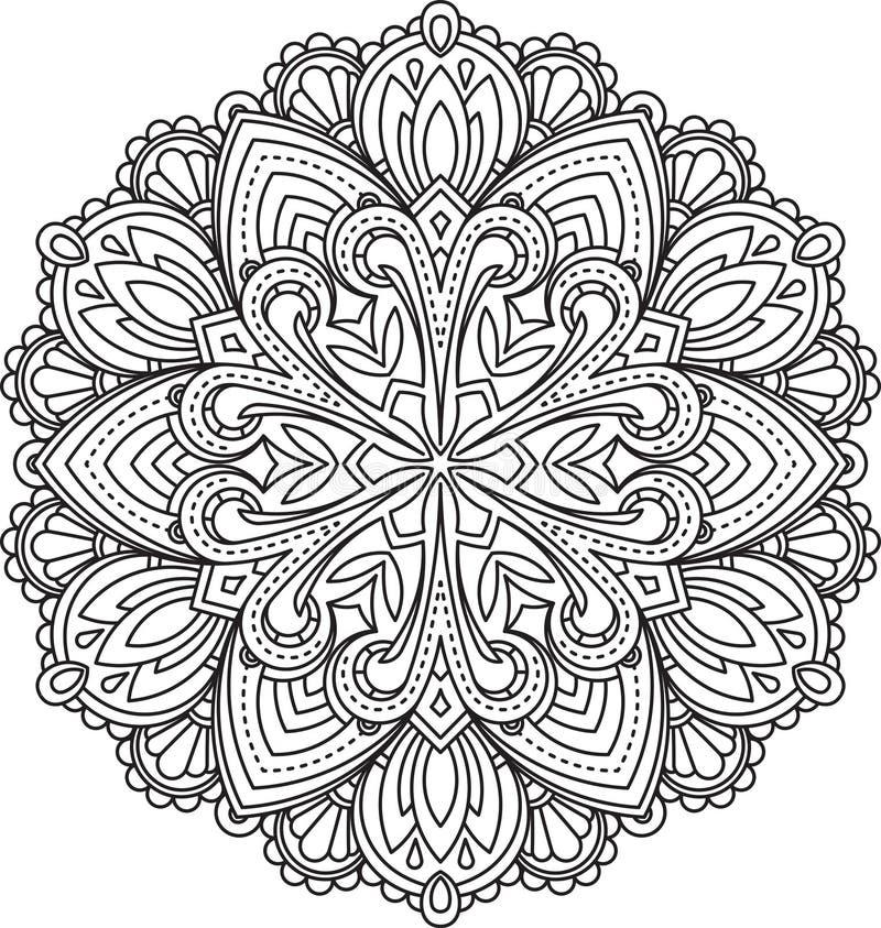 Abstract vector zwart rond kantontwerp - mandala, etnisch decorum royalty-vrije illustratie