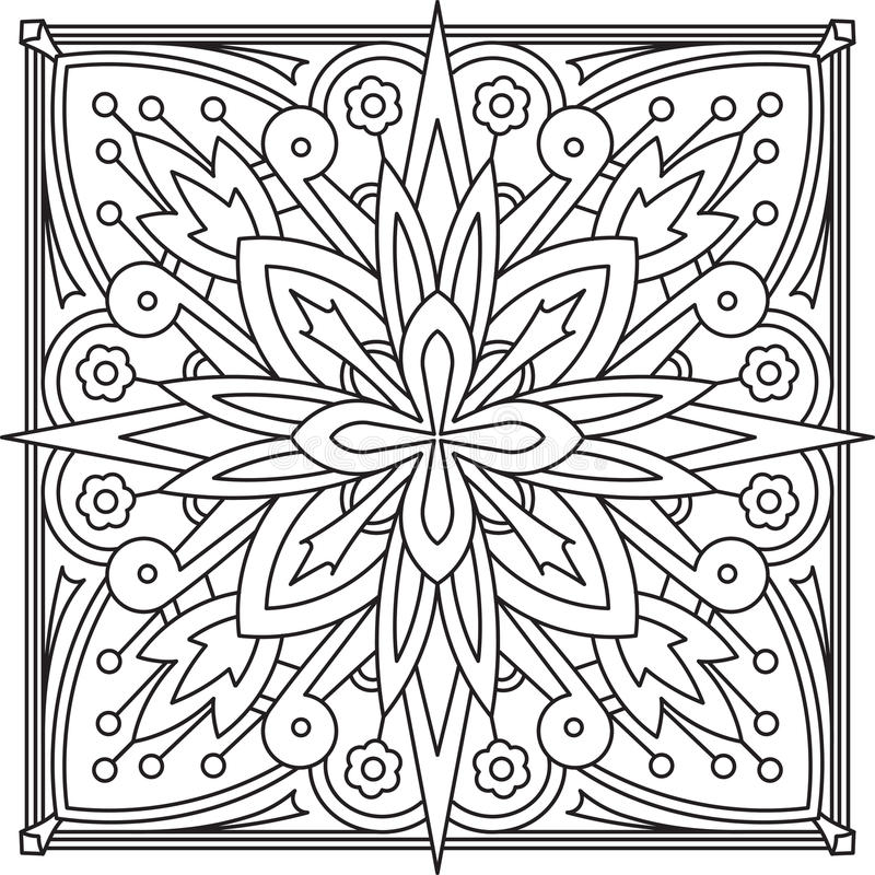 Abstract vector zwart vierkant kantontwerp in monolijnstijl - ma royalty-vrije illustratie