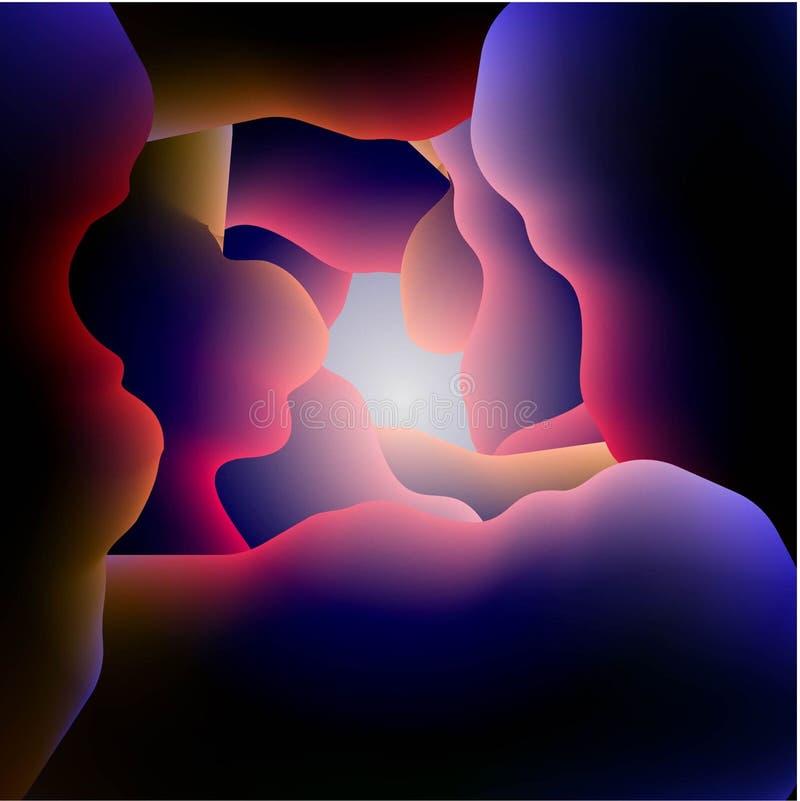 Abstract vectorbeeld van de kleurengolven op blauwe achtergrond stock illustratie