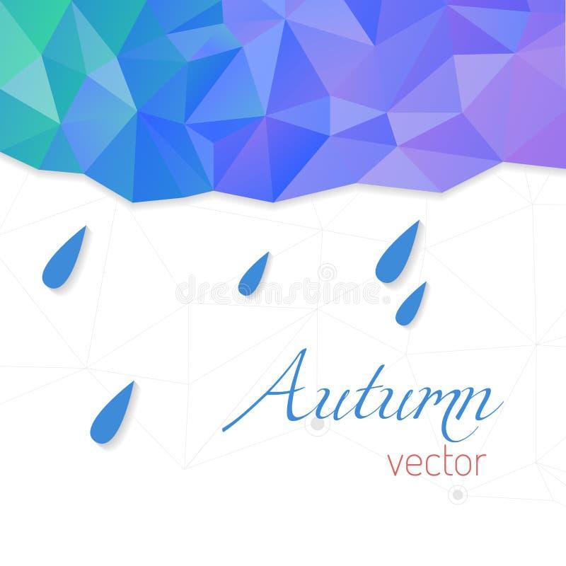 Abstract vectormalplaatje met regendruppels en driehoekige achtergrond Het Thema van de herfst Een regenjas, Paraplu, Rubberlaarz royalty-vrije illustratie