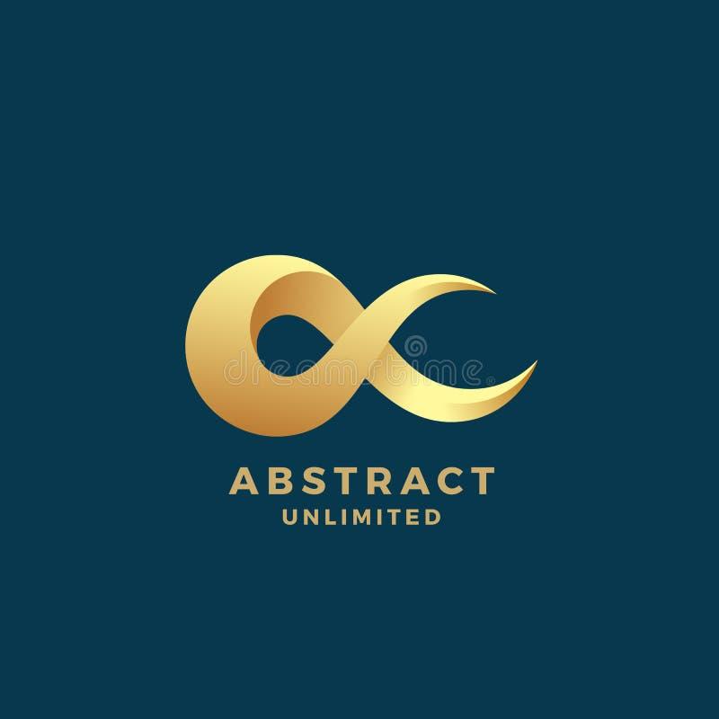 Abstract Vectoroneindigheidsteken, Embleem of Logo Template Creatief Gouden Symbool op een Premie Blauwe Achtergrond vector illustratie