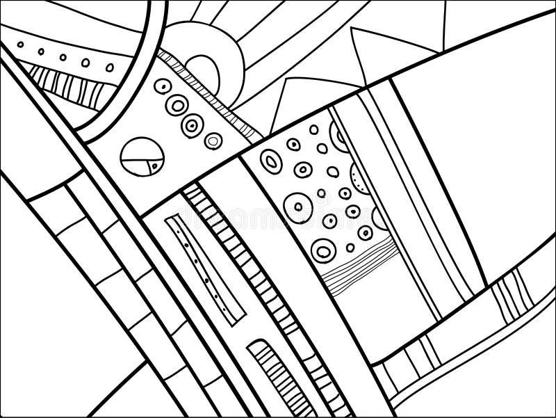 Abstract vectorpatroon, zwart-witte krabbels Achtergrond voor affiche, prentbriefkaar, achtergrond Illustratie met abstracte vorm vector illustratie