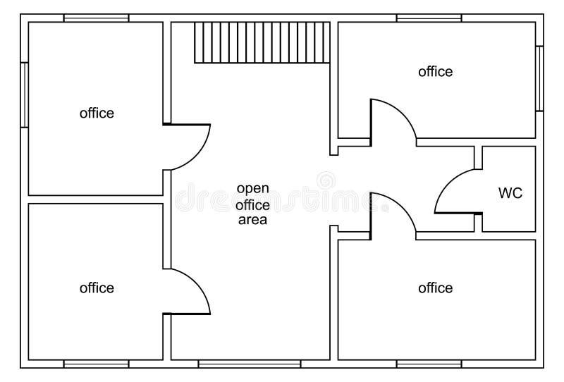 Abstract vectorplan van de bureaubouw vector illustratie