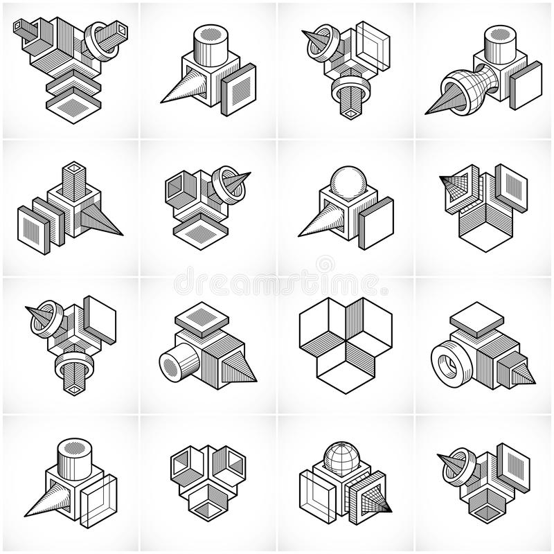 Abstract vectors, 3D shapes set. Geometric shapes in modern art composition stock illustration