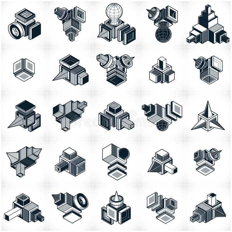 Abstract vectors, 3D simple geometric shapes set. Geometric shapes in modern art composition royalty free illustration