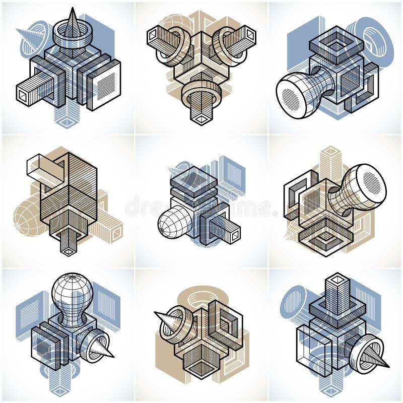 Abstract vectors, 3D simple geometric shapes set. Geometric artistic composition stock illustration