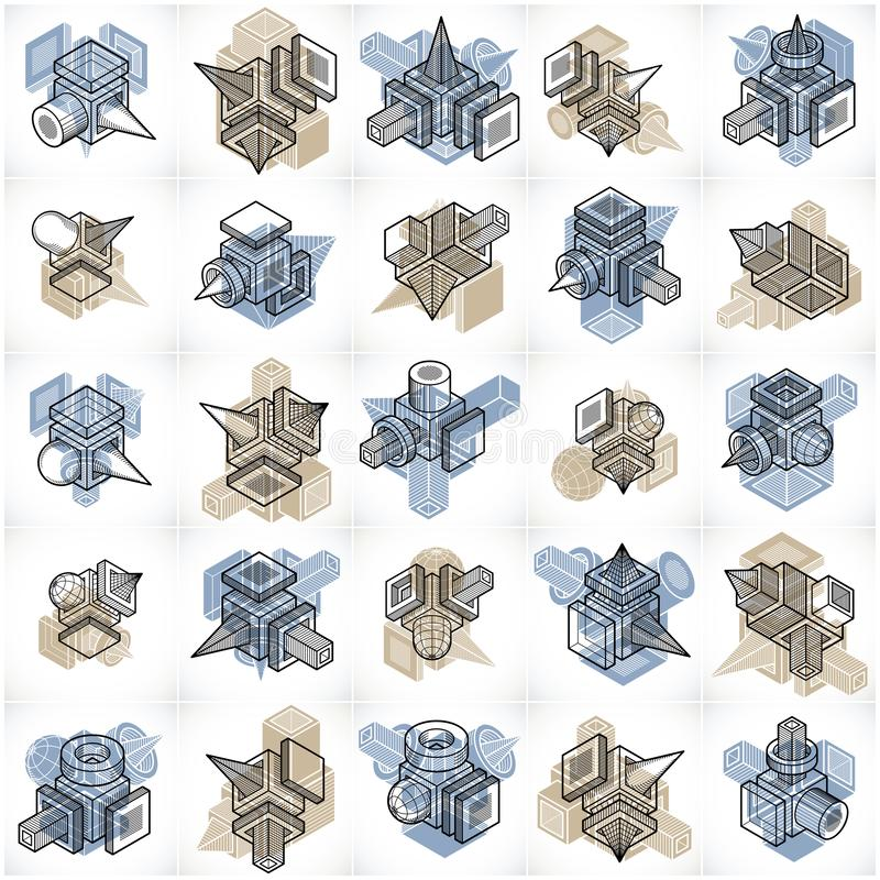 Abstract vectors set, isometric dimensional shapes collection. Geometric artistic composition vector illustration