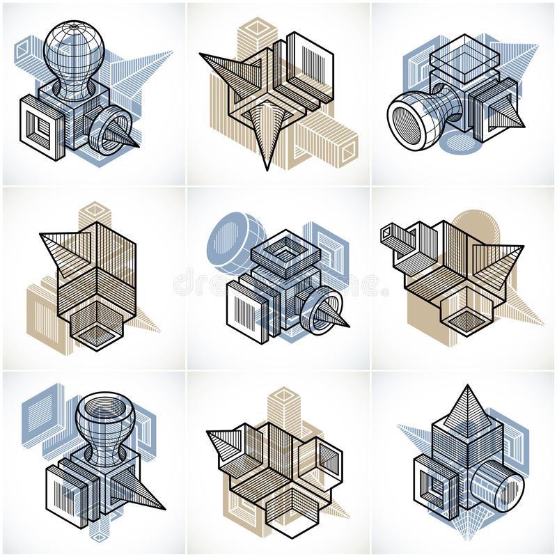 Abstract vectors set, isometric dimensional shapes collection. Modern geometric art composition stock illustration