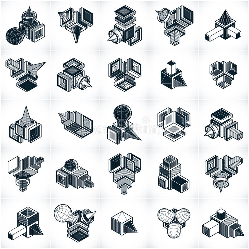 Abstract vectors set, isometric dimensional shapes collection. Modern geometric art illustration stock illustration