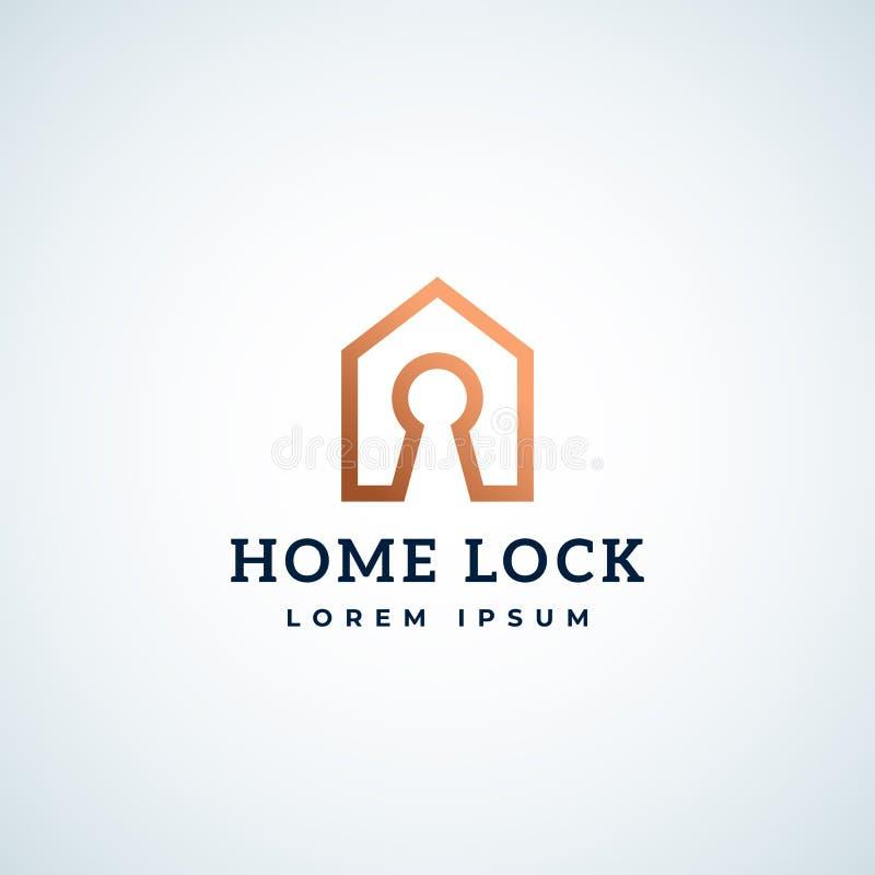 Abstract Vectorteken, Symbool of Logo Template Het Symbool van Real Estate van het huisslot Slotgat in een Huiskader met Modern stock illustratie