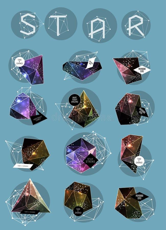 Abstract veelhoekig etiketontwerp Elementen van vector illustratie