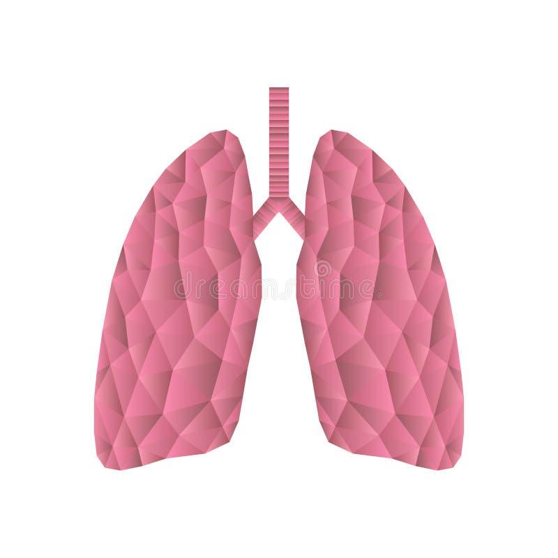 Abstract veelhoekig menselijk die longenpictogram op wit wordt geïsoleerd vector illustratie
