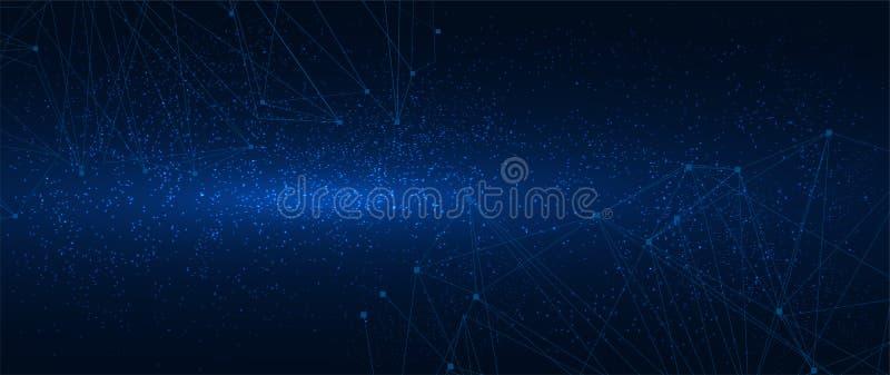 Abstract veelhoekig net op kosmische achtergrond royalty-vrije illustratie