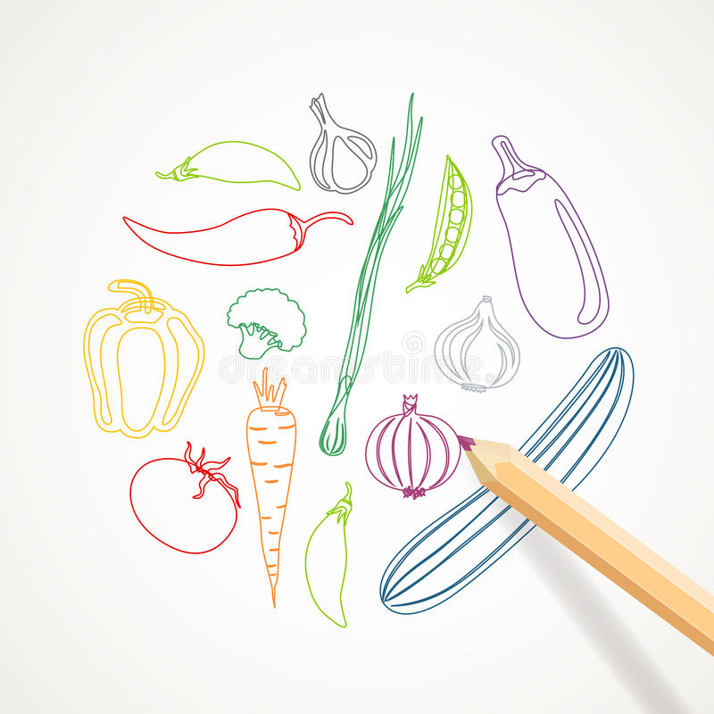 Abstract Vegetables. Illustration of a Background with Abstract Vegetables royalty free illustration